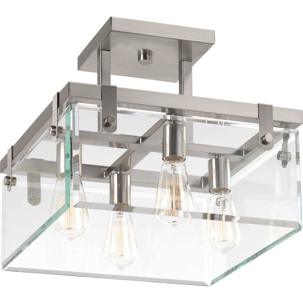 Glayse Collection 4-Light Brushed Nickel Semi-Flush Mount