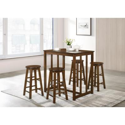 Walnut 5-Piece Dining Table Set High Table Set with 4-Bar Stools