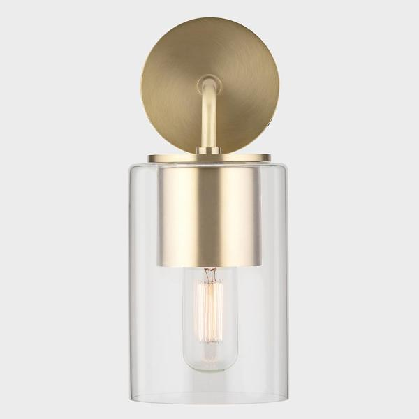 Luca 1-Light Aged Brass Wall Sconce with Clear Glass