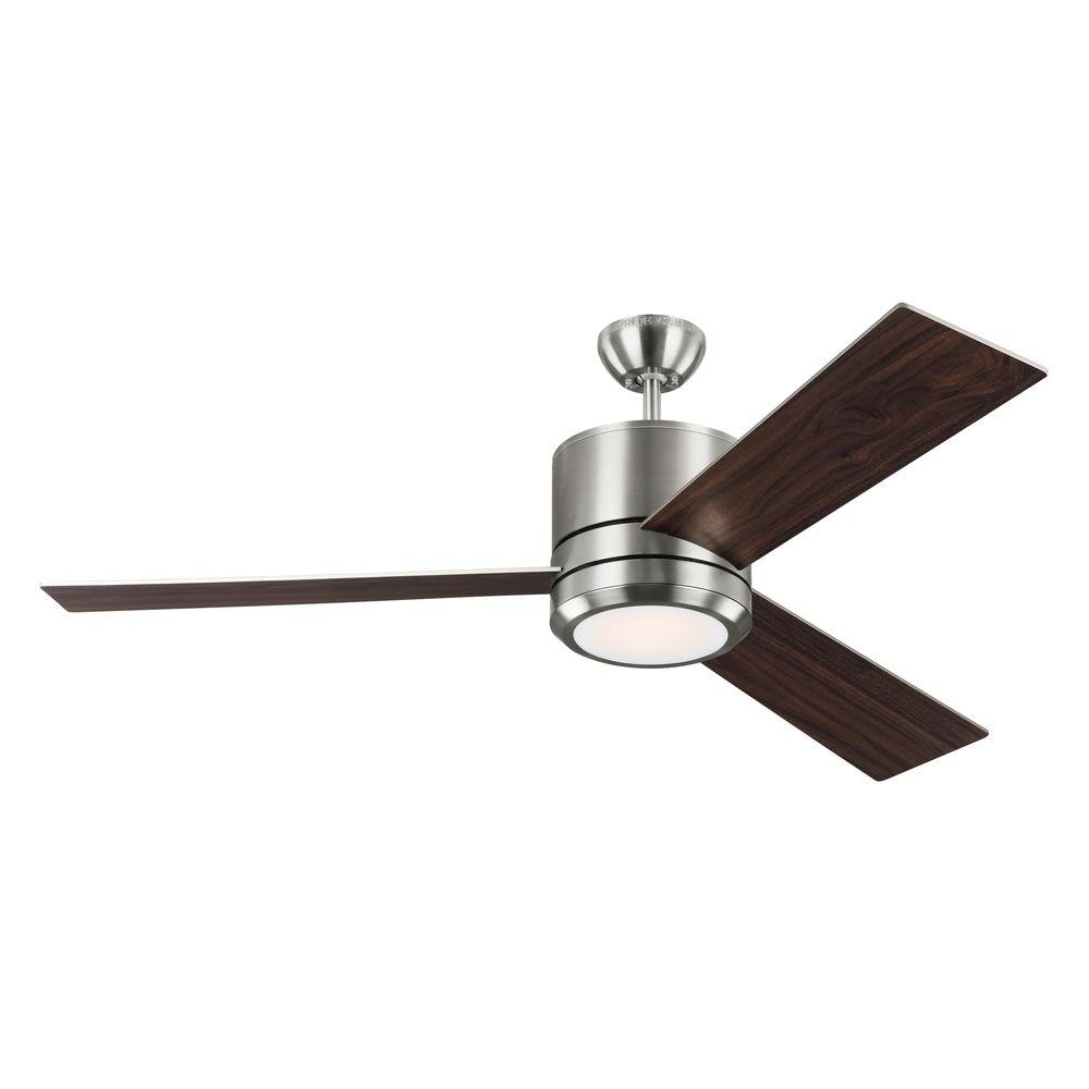 Monte Carlo Vision Max 56 In Indoor Outdoor Brushed Steel Ceiling Fan 3vnmr56bsd The Home Depot