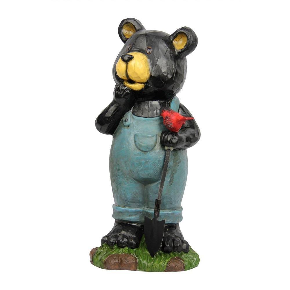 Alpine 16 In Polyresin Bear Holding Bird Garden Statue