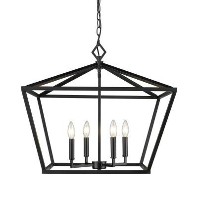 4-Light 23 in. Wide Matte Black Taper Candle Pendant