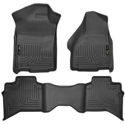 Front & 2nd Seat Floor Liners Fits 09-18 Ram 1500 Quad Cab