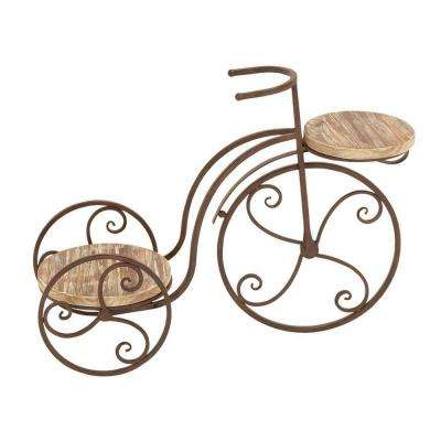 MTL 25 in. W Wood Bicycle Plant Stand