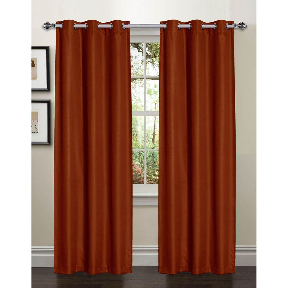 Bella Luna Semi Opaque Galaxy 84 In L Room Darkening Textured Grommet Curtain Panel Pair Rust