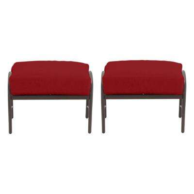 Oak Cliff Brown Steel Outdoor Patio Ottoman with CushionGuard Chili Red Cushions (2-Pack)