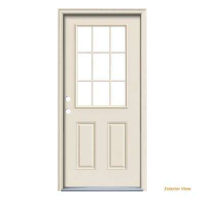 32 in. x 80 in. Primed Right-Hand Inswing 9 Lite Clear Steel Prehung Front Door with Brickmould