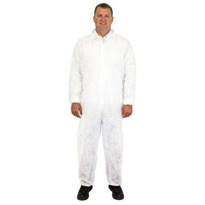 Disposable Coverall Large White Polypropylene (25-Pack)