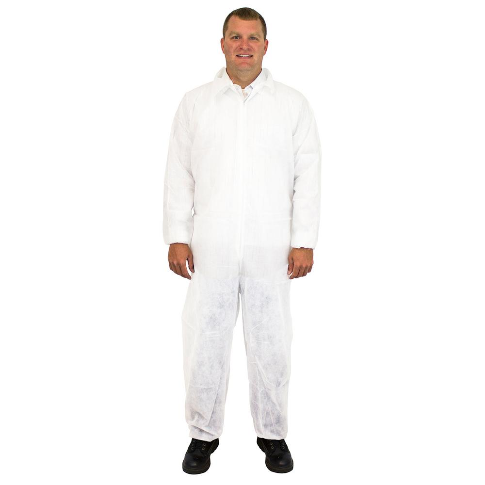 the safety zone large white disposable coverall polypropylene 25