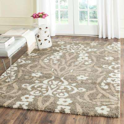 Florida Shag Smoke/Beige 3 ft. 3 in. x 5 ft. 3 in. Area Rug