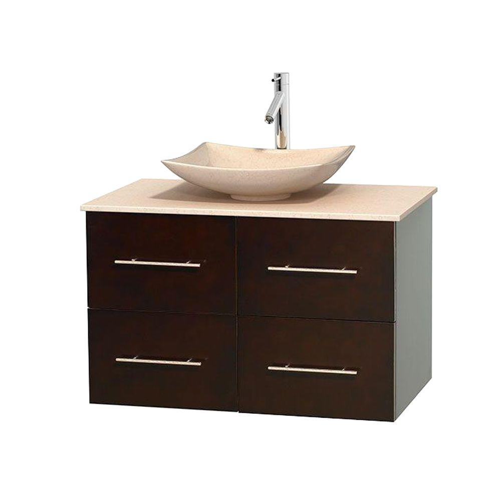 Wyndham Collection Centra 36 in. Vanity in Espresso with Marble Vanity Top in Ivory and Sink
