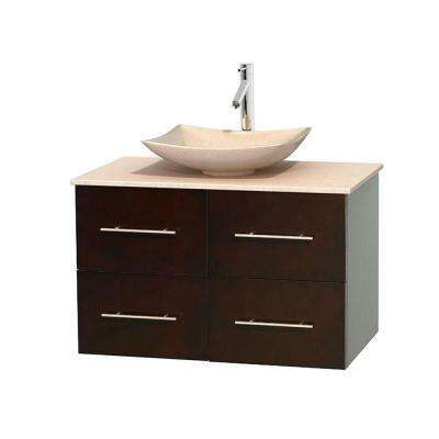 Centra 36 in. Vanity in Espresso with Marble Vanity Top in Ivory and Sink