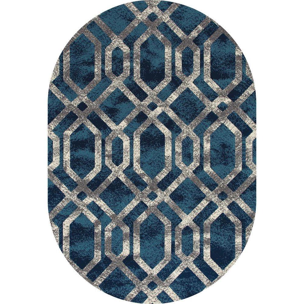Art Carpet Bastille Fretwork Blue Gray 3 Ft 11 In X 6 Ft