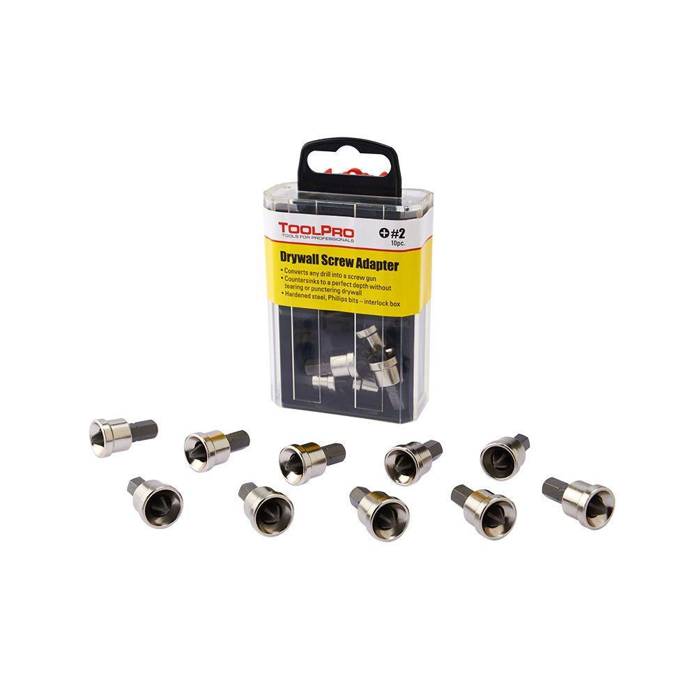 Toolpro 2 Phillips Bit Drywall Adapters In Interlocking Storage Box 10 Pack