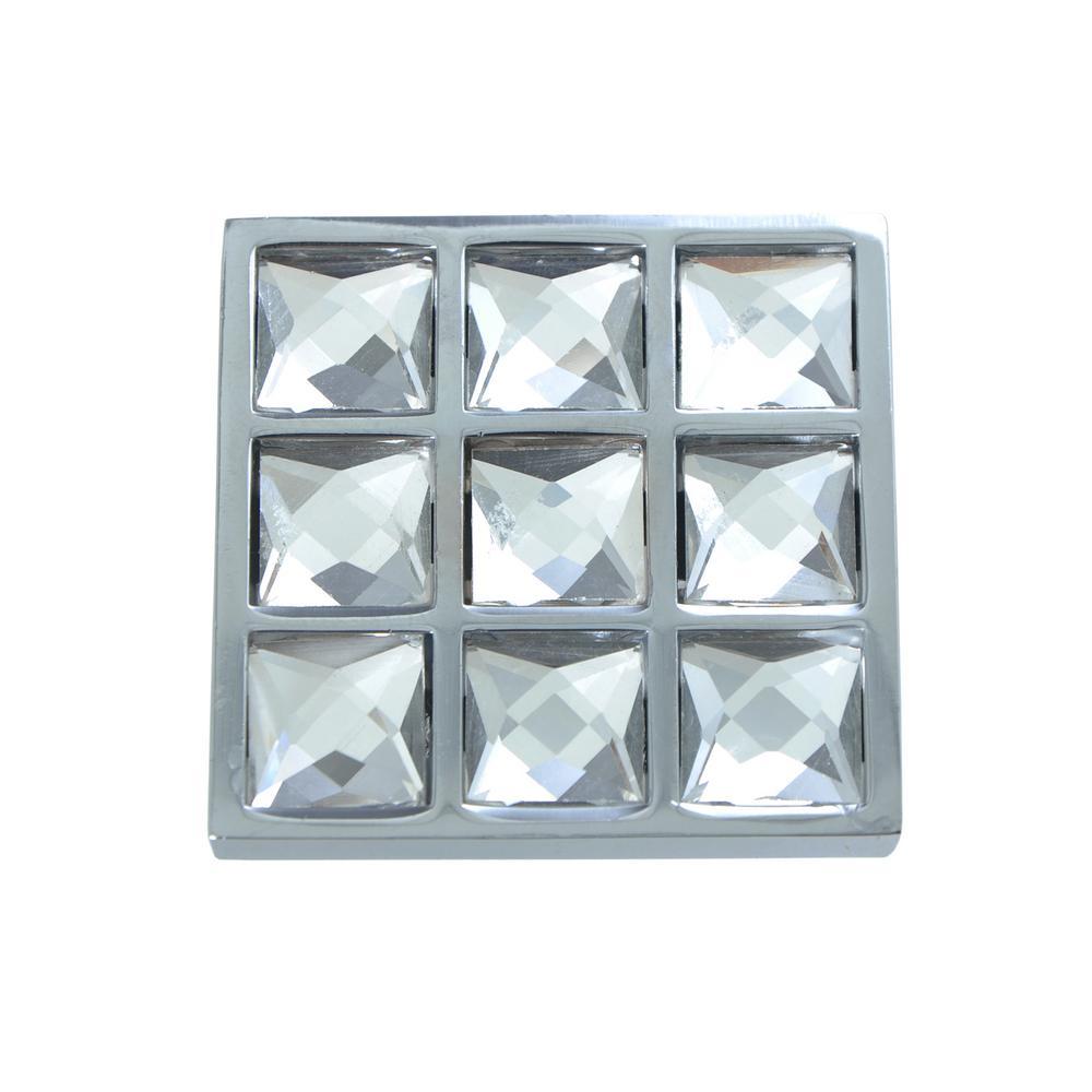 "Utopia Alley Gleam Grid Polished Chrome Square Cabinet Knob, 1.5"""