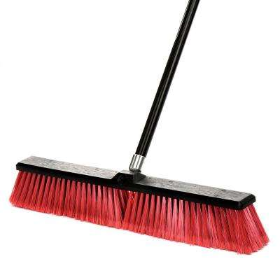 24 in. Red Indoor Outdoor Smooth Surface Push Broom