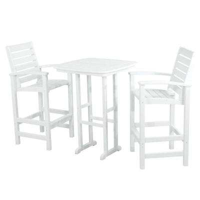 Signature White 3-Piece Patio Bar Set