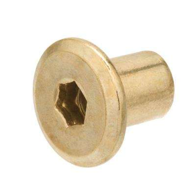 1/4-20 x 12 mm Coarse Brass-Plated Steel Type-G Connecting Cap Nuts (4-Pack)