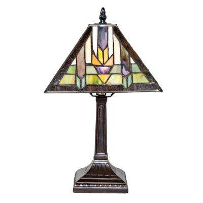 15.5 in. Multi-Colored Stained Glass Indoor Table Lamp with Mission Style Santa Fe Shade
