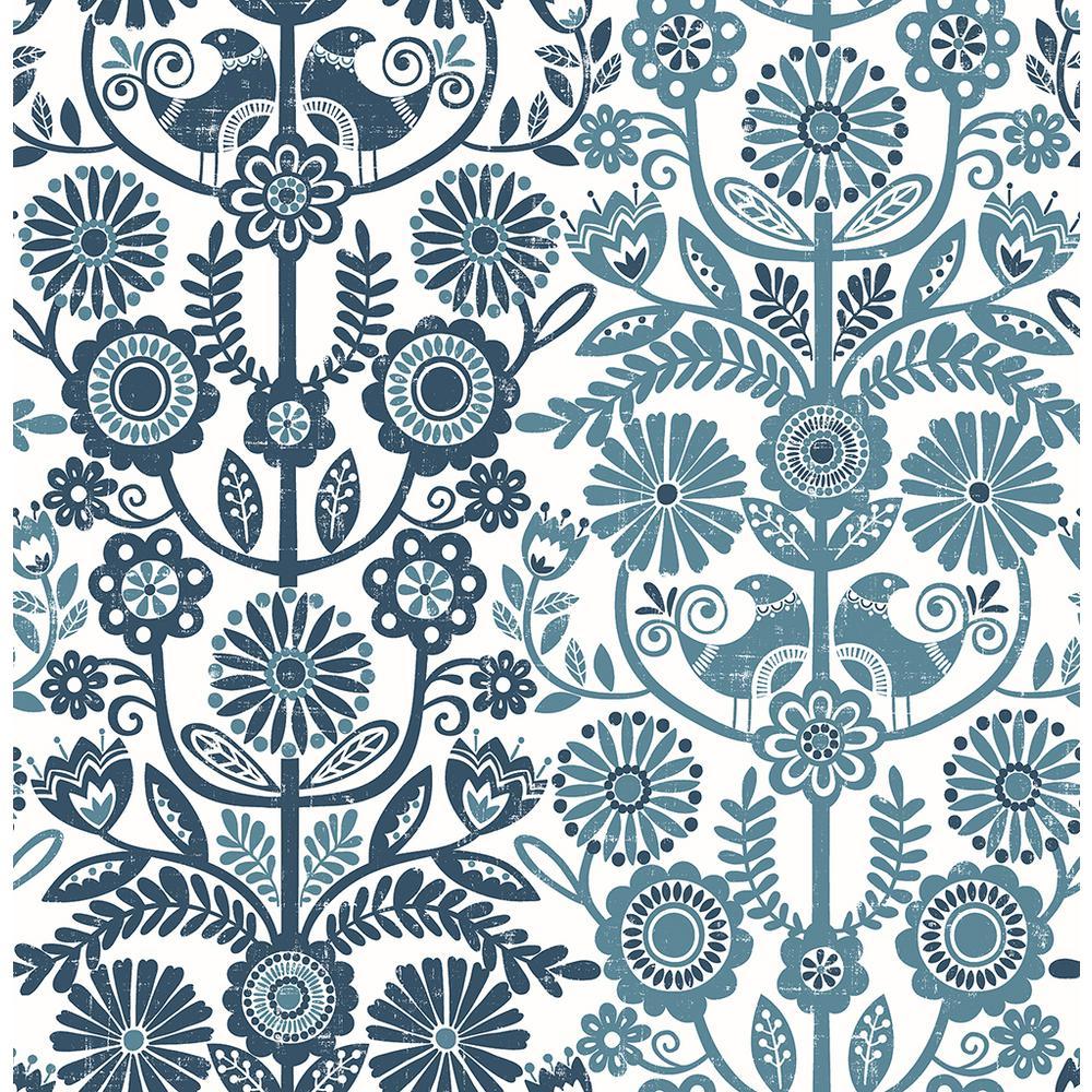 8 in. x 10 in. Lovebirds Navy Folk Stripe Wallpaper Sample