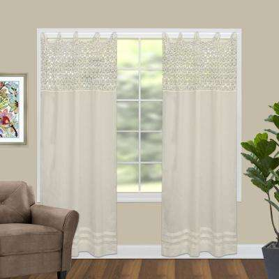 Crochet Envy 45 in. W x 63 in. L Curtain Panel in Natural