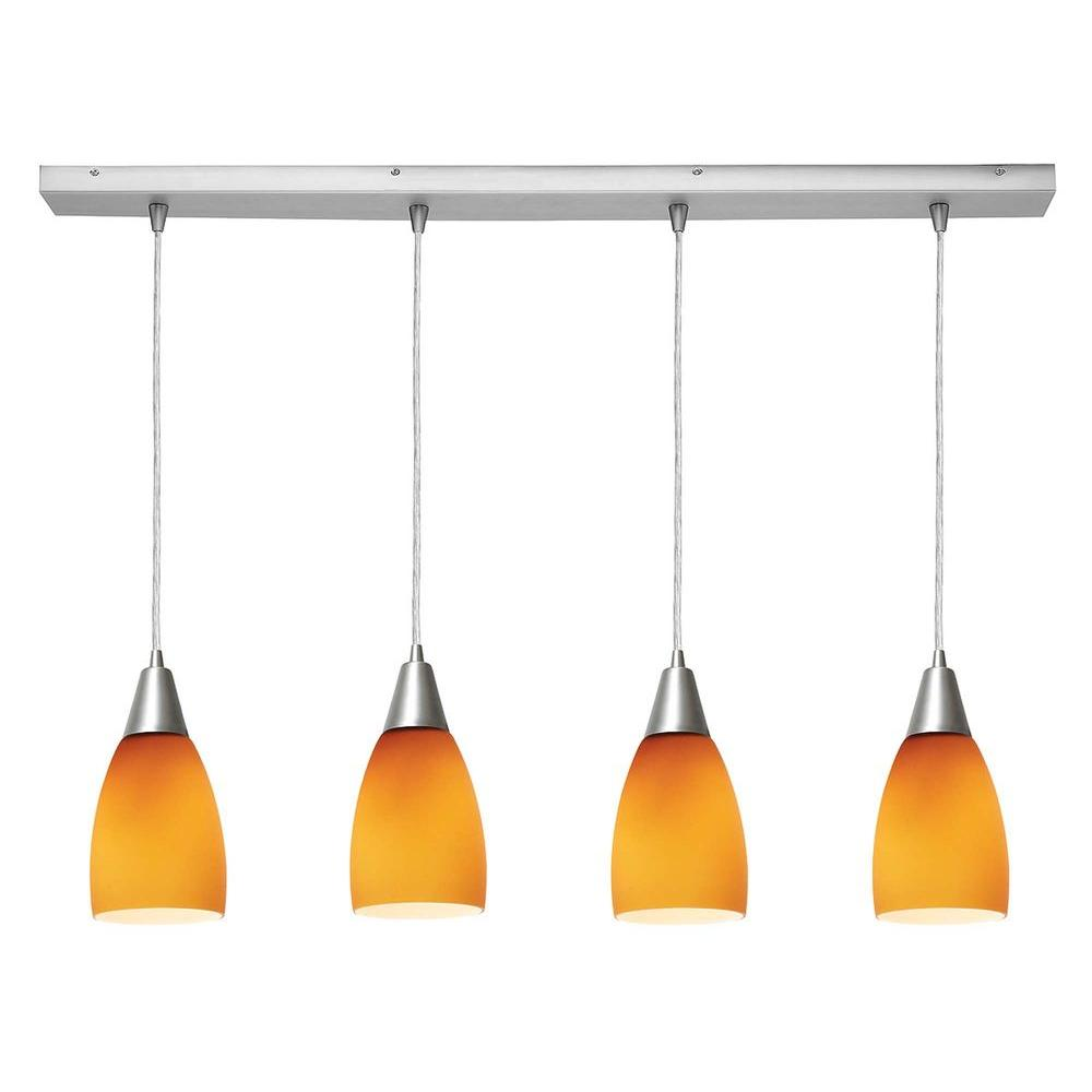 Access Lighting 4-Light Pendant Brushed Steel Finish Amber Glass-DISCONTINUED