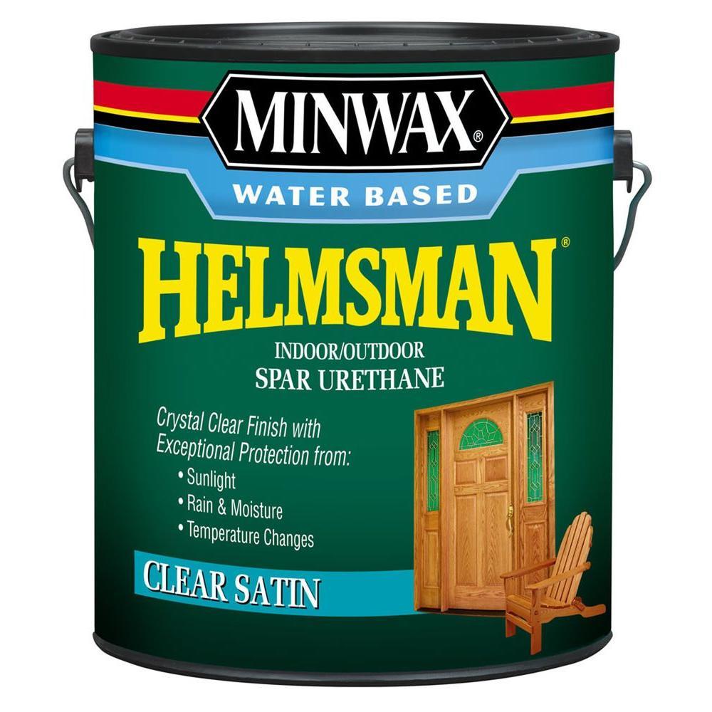 1 gal. Clear Satin Water Based Helmsman Indoor/Outdoor Spar Urethane (2-Pack)