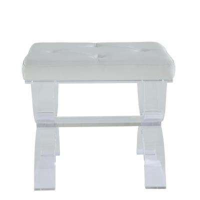 Clarkia White Leatherette and Clear Acrylic Stool