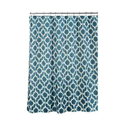 Faux Linen Textured 70 in. W x 72 in. L Shower Curtain with Metal Roller Rings in Loren Blue/White