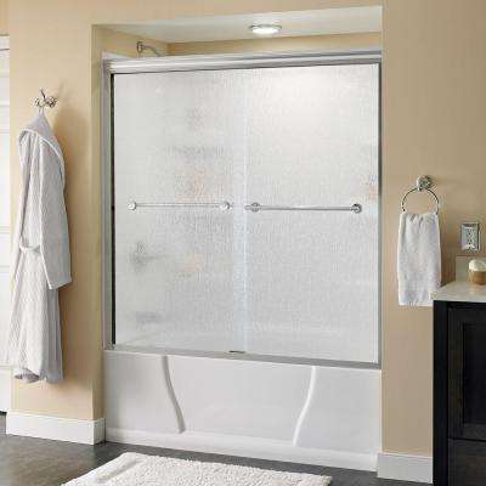 Lyndall 60 in. x 58-1/8 in. Semi-Frameless Sliding Bathtub Door in Chrome with Rain Glass