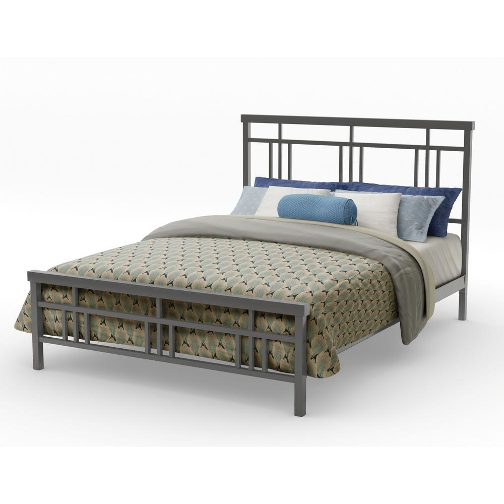5addcc324fe8 Cottage Matt Dark Grey Metal Queen Size Bed-14378-60 57 - The Home Depot