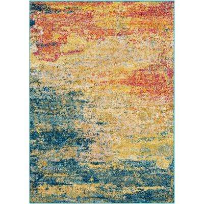 Lisbon Yellow/Teal 5 ft. 3 in. x 7 ft. 3 in. Abstract Area Rug