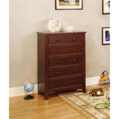 Omnus 5-Drawers Cherry Transitional Style Chest