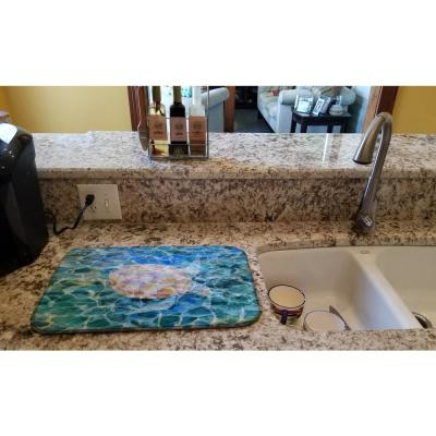 14 in. x 21 in. Multicolor Sea Turtle Under Water Dish Drying Mat