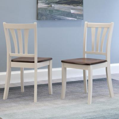 Dillon Dark Brown and Cream Solid Wood Curved Vertical Salt Backrest Dining Chairs (Set of 2)