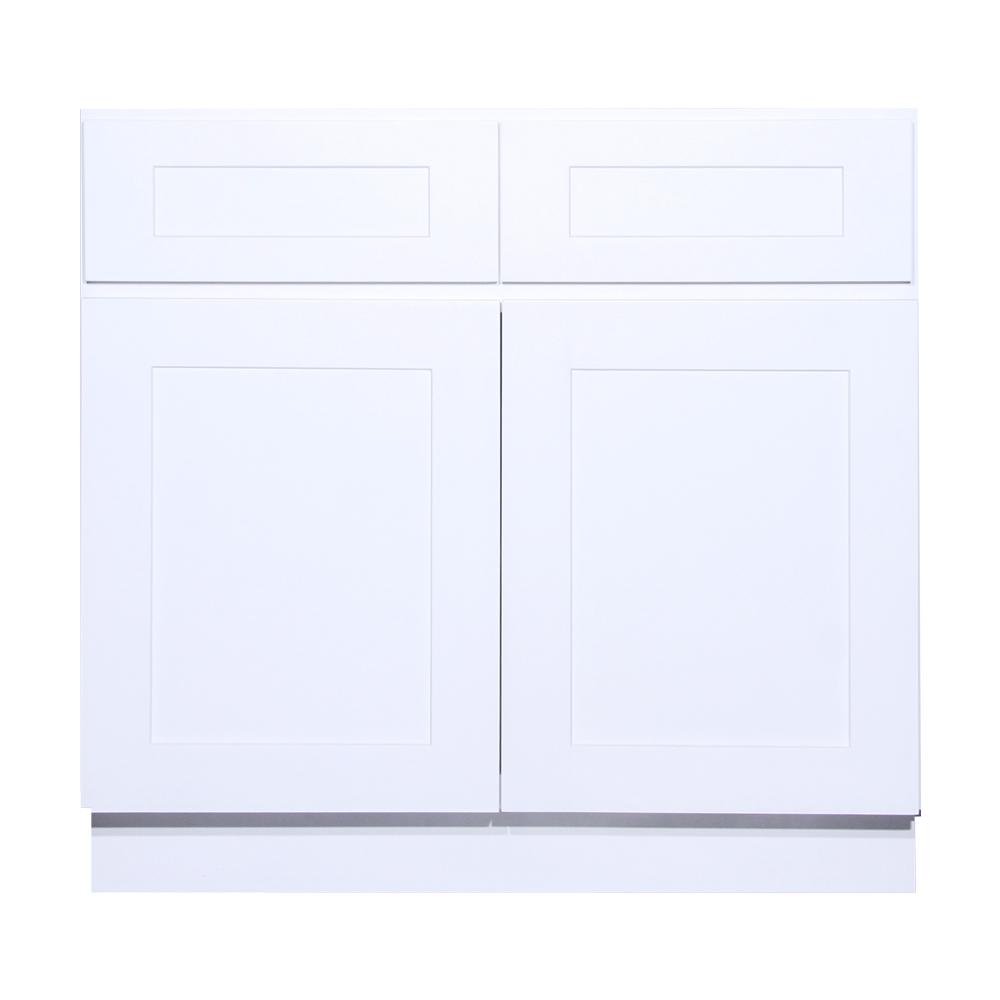 Shaker Ready To Emble 30 In W X 34 5 H 21 D Birch Base Vanity Cabinet 2 Doors White