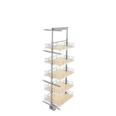 16 in. Chrome Maple Solid Bottom Pantry Pullout with Soft Close