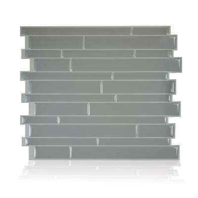 Milano Platino 11.55 in. W x 9.63 in. H Grey Peel and Stick Decorative Mosaic Wall Tile Backsplash (6-Pack)