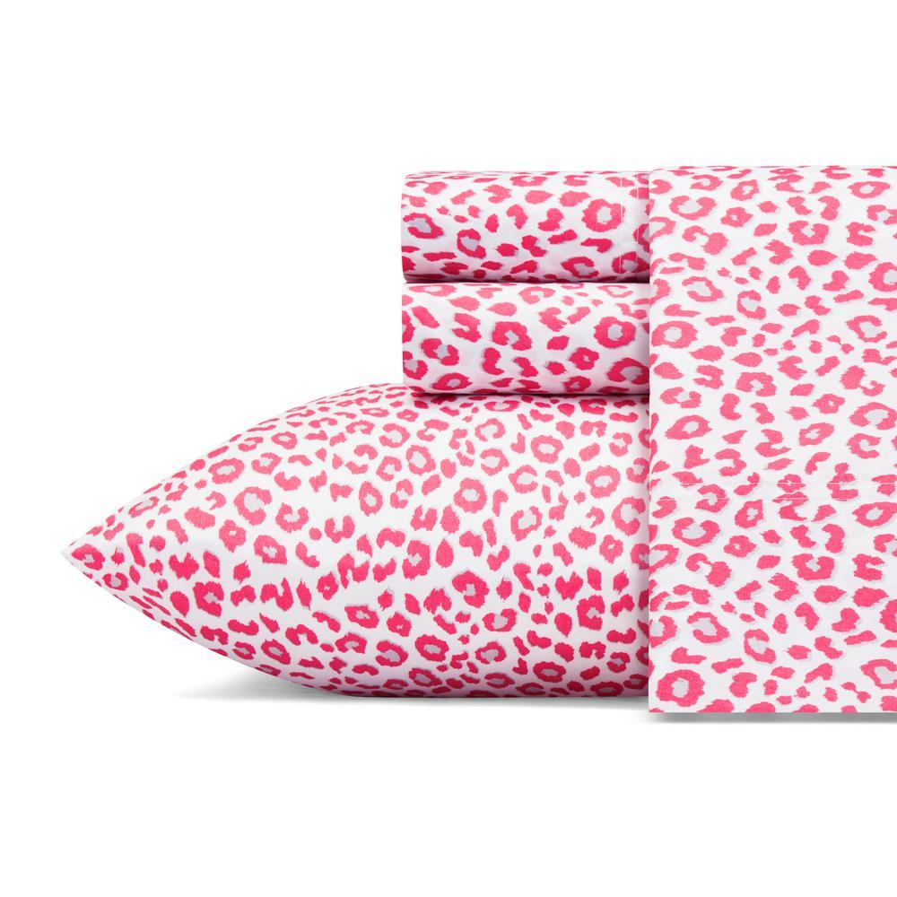 Betseys Leopard Pink 4-Piece Microfiber Sheet Set, Queen