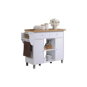 HODEDAH Kitchen Island White with Spice Rack and Towel Holder by HODEDAH