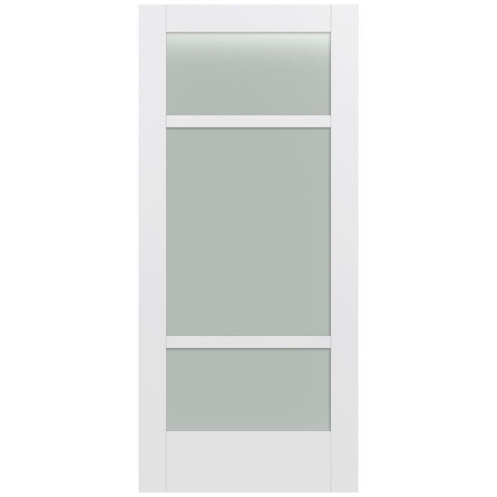 Jeld-Wen 36 in. x 80 in. Moda Primed PMT1031 Solid Core Wood Interior Door Slab w/Translucent Glass