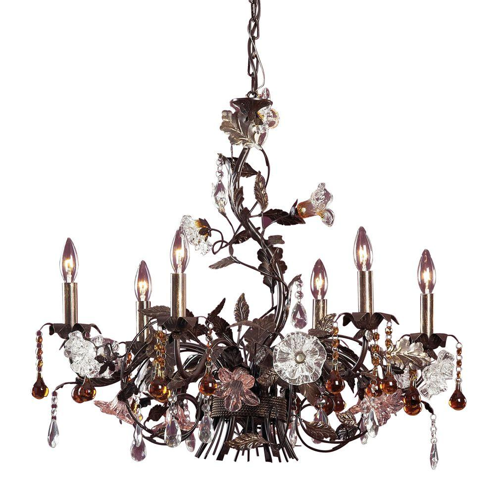 Cristallo Fiore 6-Light Ceiling Mount Deep Rust Chandelier