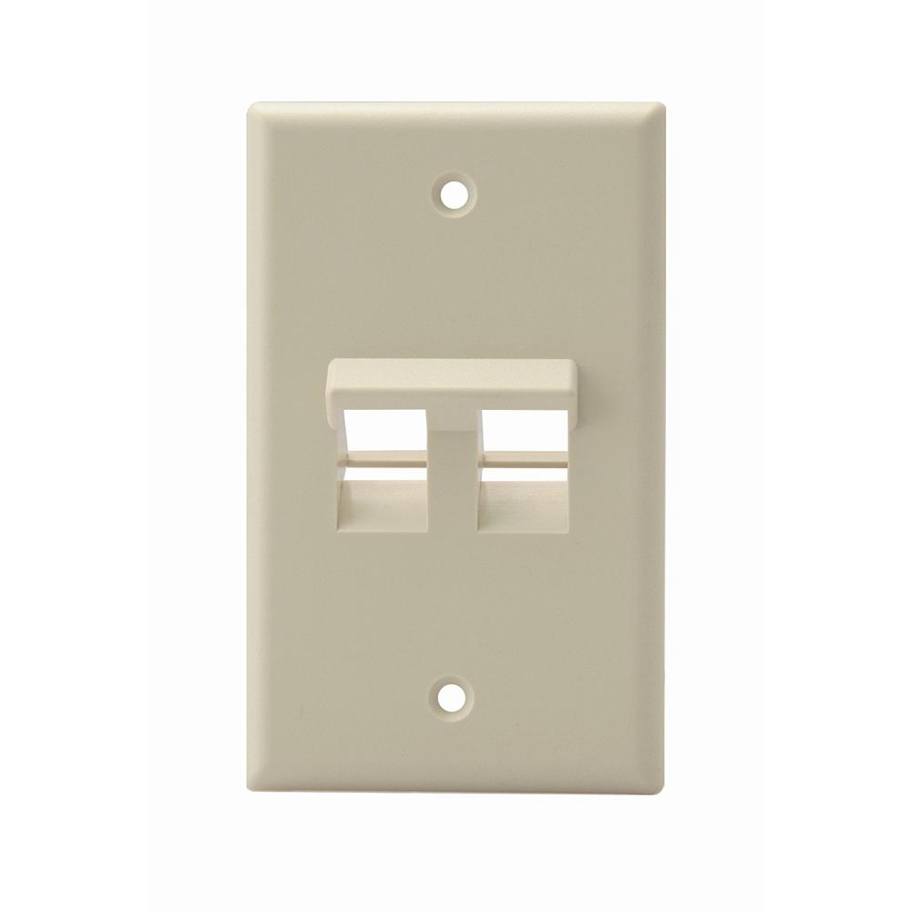 1-Gang QuickPort Standard Size 2-Port Angled Wallplate, Ivory