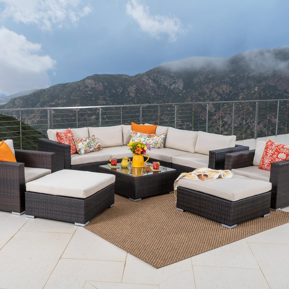 Noble House 10-Piece Wicker Patio Sectional Seating Set with Beige Cushions