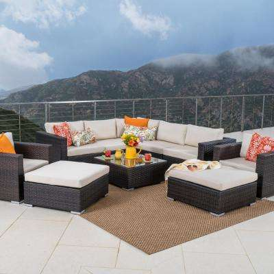 10-Piece Wicker Patio Sectional Seating Set with Beige Cushions