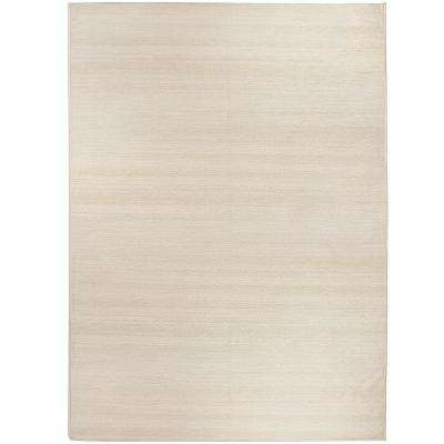 Washable Solid Textured Cream 5 ft. x 7 ft. Stain Resistant Area Rug