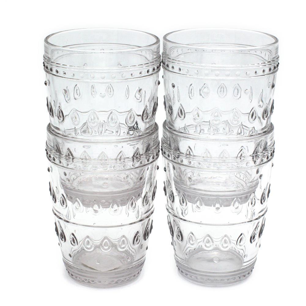 Euro Ceramica Fez 4-Piece 14oz. Clear Highball Glass Set GL-FZ81154CL