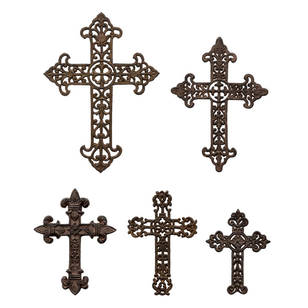 Brown Metal Cross Wall Decors (Set of 5)