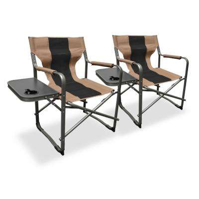 Elite Director's Tan/Black Steel Folding Lawn Chair (2-Pack)