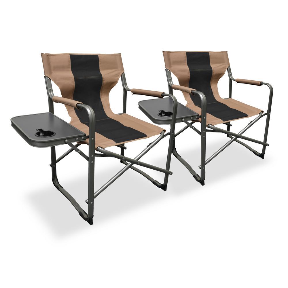Peachy Caravan Sports Elite Directors Tan Black Steel Folding Lawn Chair 2 Pack Short Links Chair Design For Home Short Linksinfo